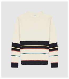 Reiss Springer - Striped Jumper in Ivory, Mens, Size XXL