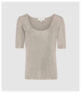 Reiss Tabby - Metallic Knitted Top in Silver, Womens, Size XXL