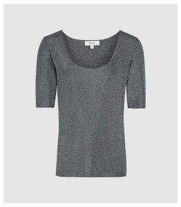 Reiss Tabby - Metallic Knitted Top in Blue, Womens, Size XXL