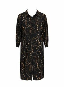 Black Chain Print Shirt Dress, Dark Multi