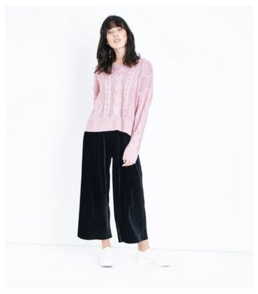Pink Chunky Cable Knit Drop Shoulder Jumper New Look