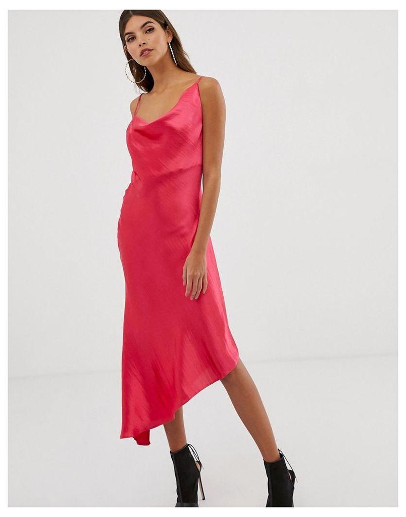 ASOS DESIGN midi slip dress in high shine satin