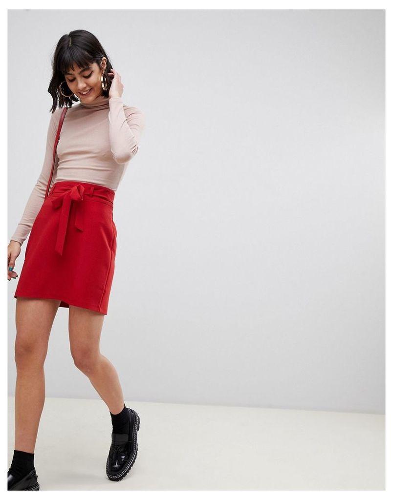 ASOS DESIGN tailored mini skirt with obi tie
