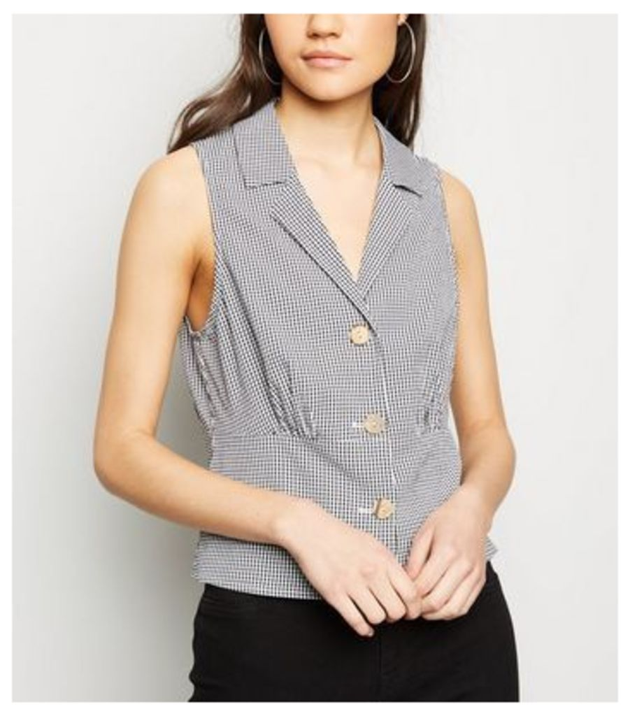Black Gingham Sleeveless Shirt New Look