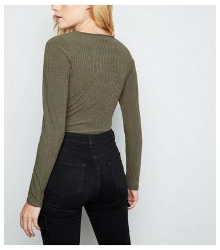 Khaki Ribbed Plunge Neck Bodysuit New Look