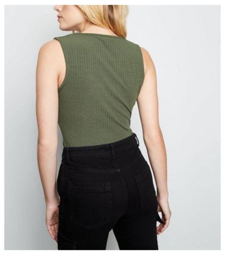 Khaki Ribbed Square Neck Bodysuit New Look