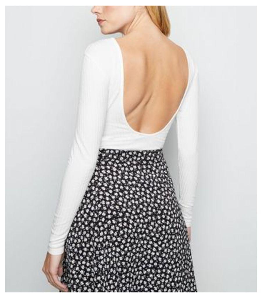 Cream Ribbed Scoop Back Bodysuit New Look