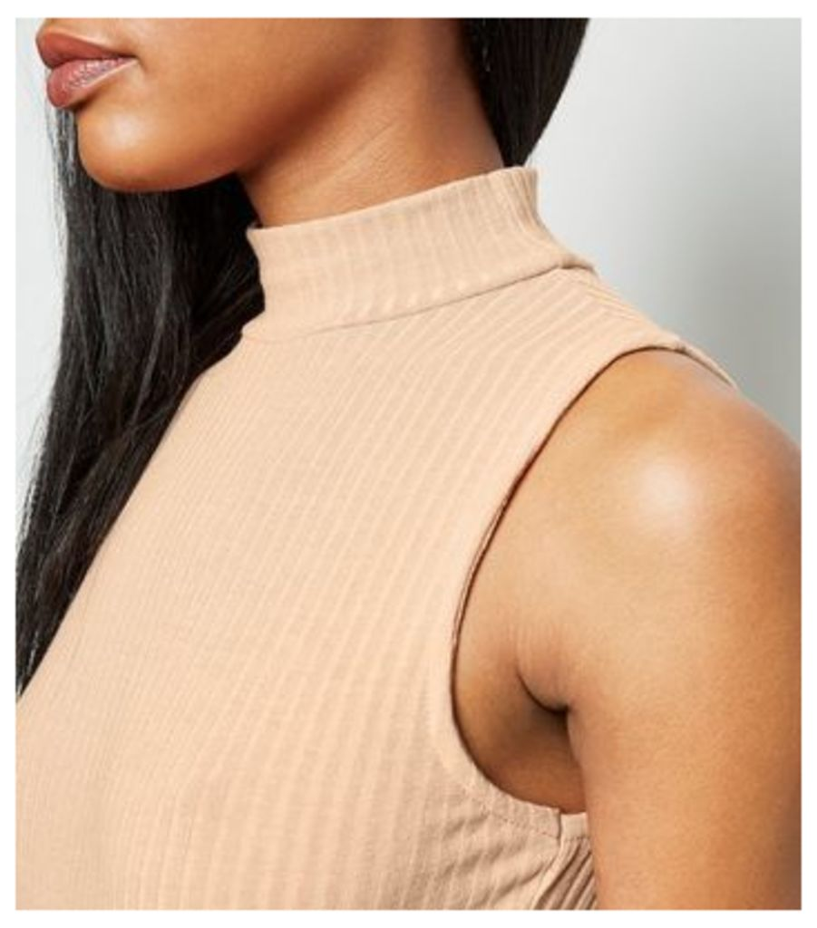 Stone Ribbed Funnel Neck Bodysuit New Look