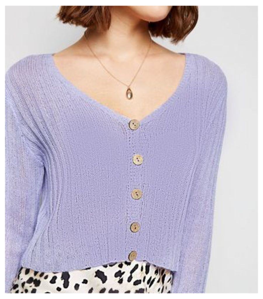 Lilac Ribbed Fine Knit Cardigan New Look