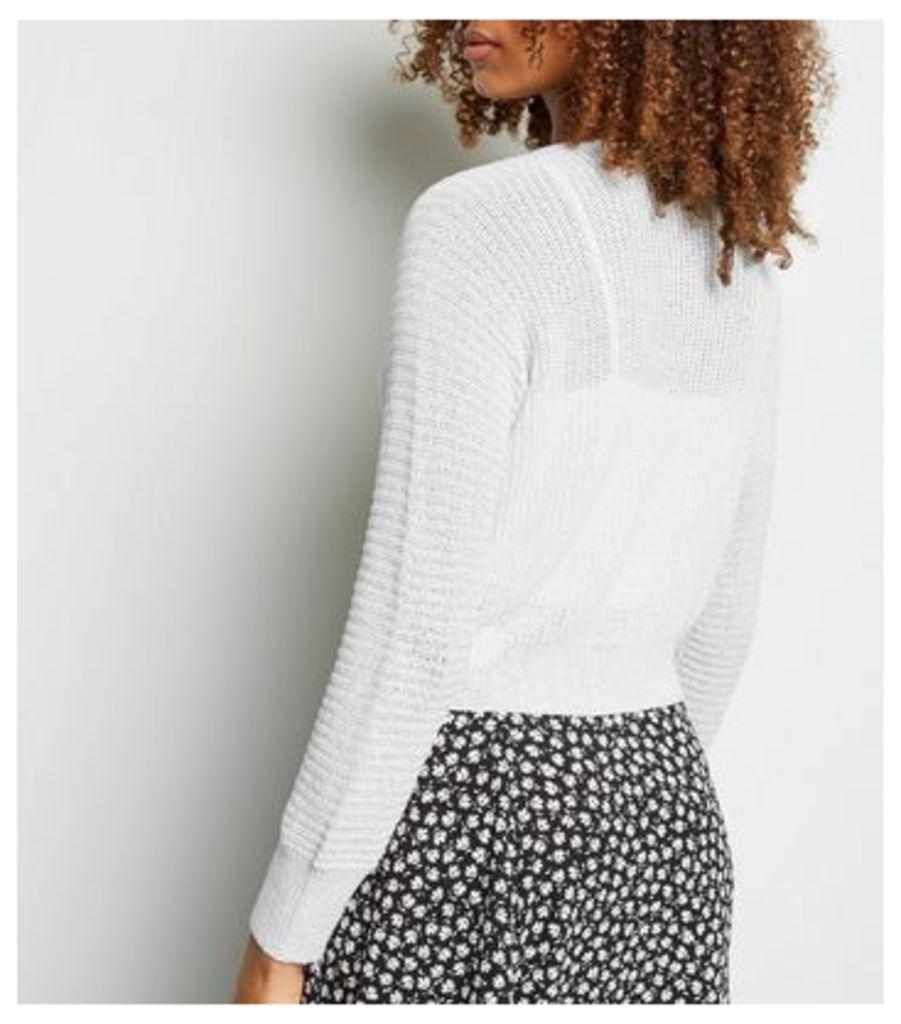 Cream Pointelle Knit Crop Cardigan New Look