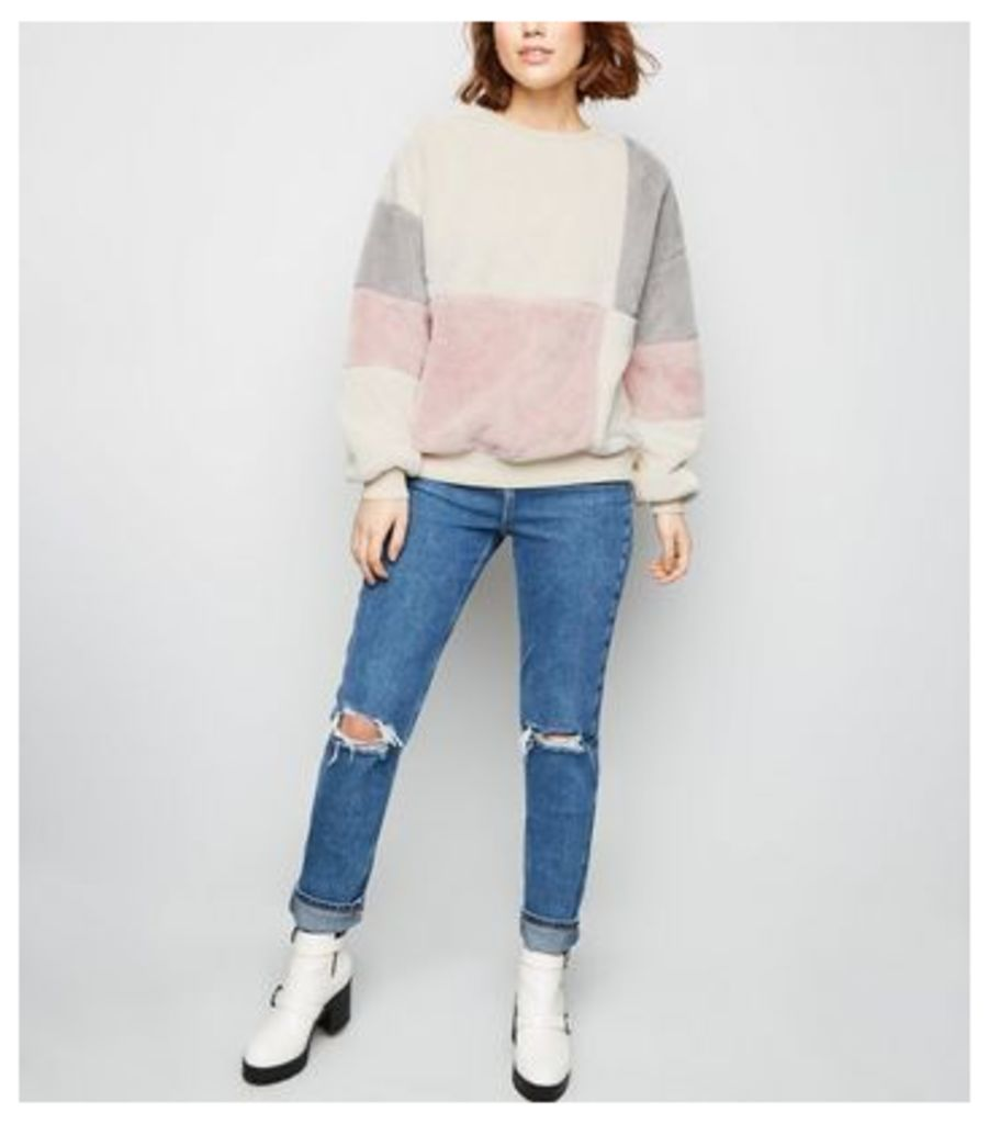 Pink Faux Fur Patchwork Sweatshirt New Look