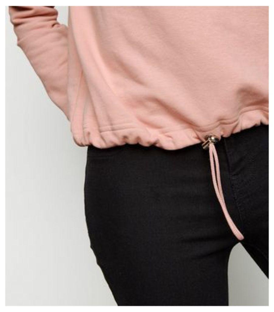 Pale Pink Drawstring Hem Sweatshirt New Look