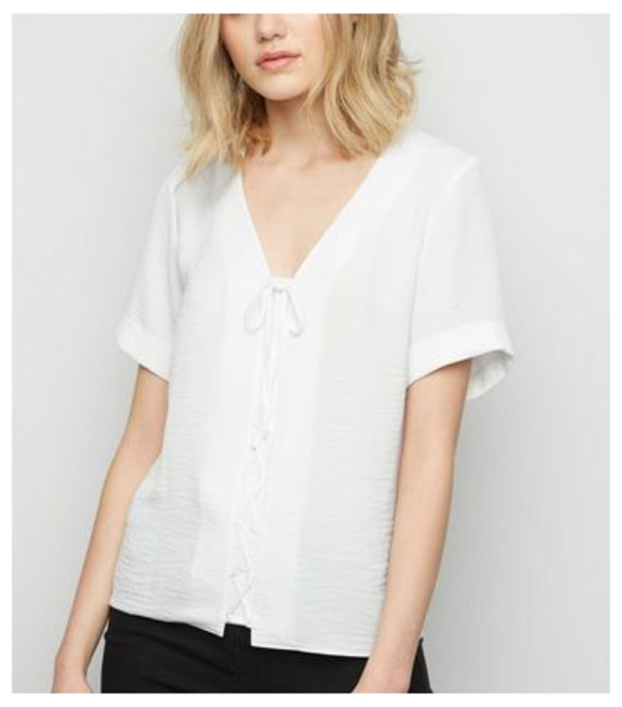 Tall Off White Lattice Front Shirt New Look