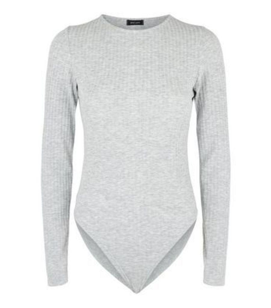 Grey Ribbed Long Sleeve Bodysuit New Look