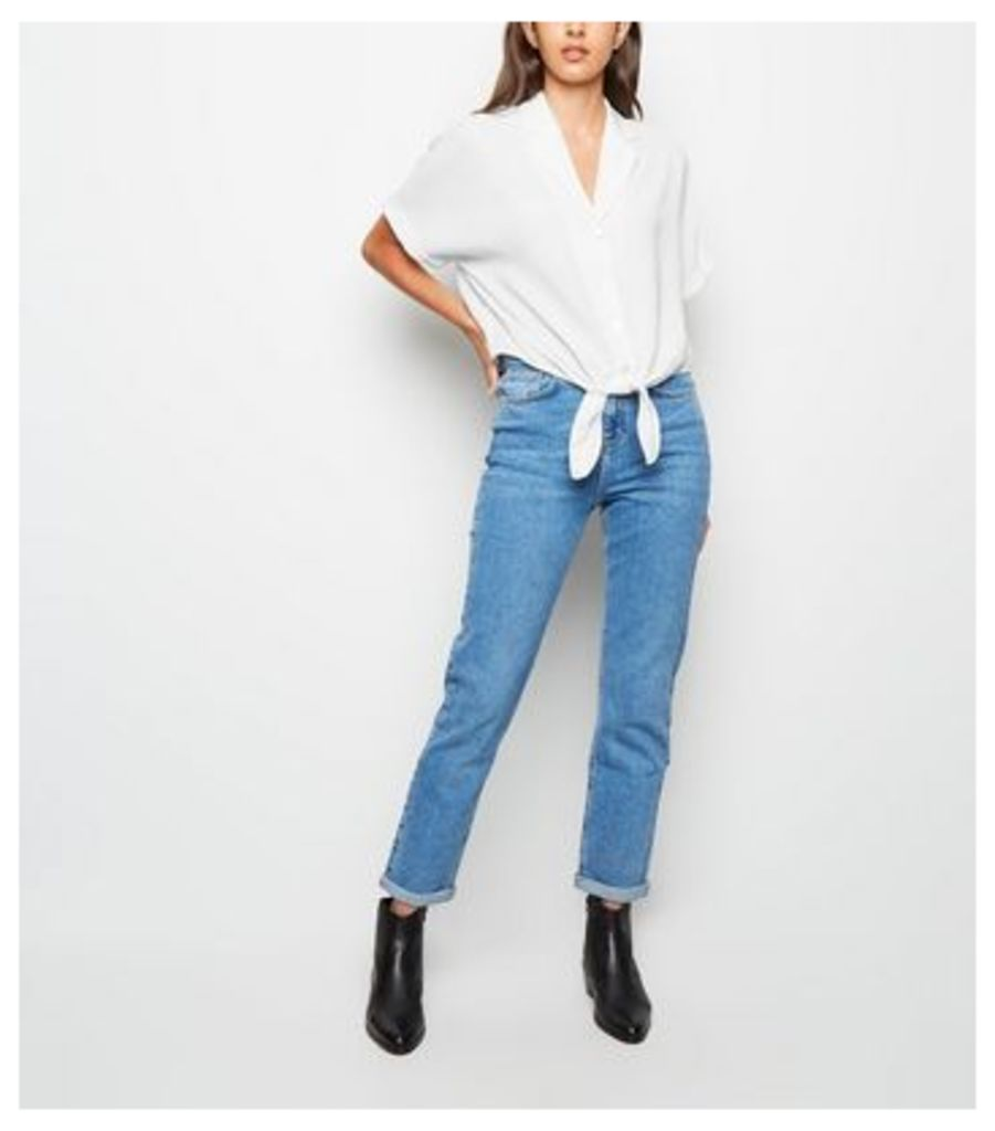 White Button Tie Front Shirt New Look