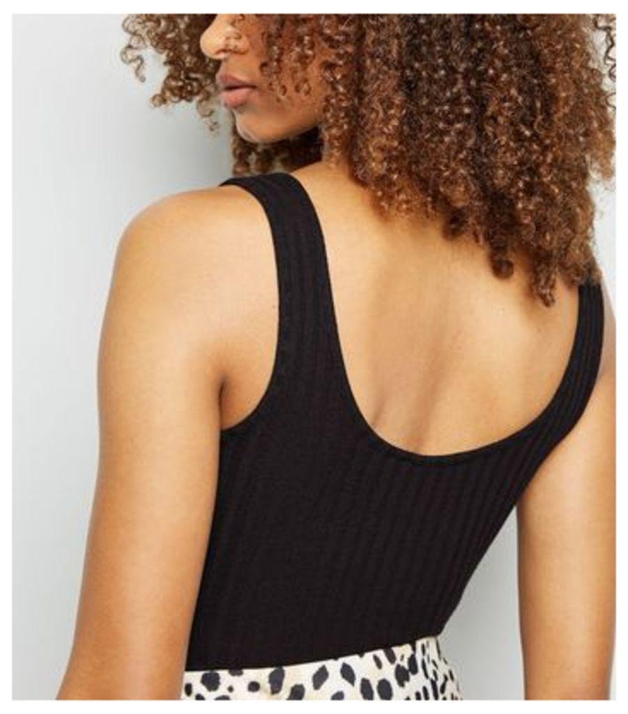 Black Lace Up Fine Knit Bodysuit New Look