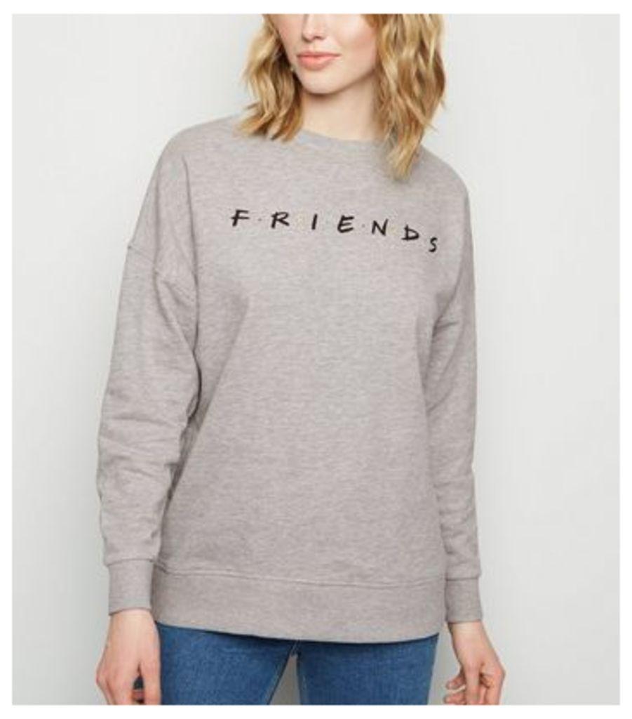 Grey Friends Logo Sweatshirt New Look