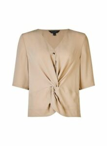 Womens Stone Twist Front Top - Cream, Cream