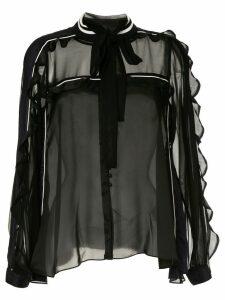 Sacai ruffle trim pussybow blouse - Black