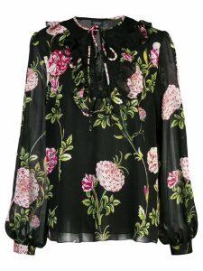 Giambattista Valli floral print sheer blouse - Black