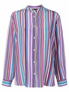Aspesi striped grandad collar shirt - PURPLE
