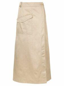 Nehera wrap front long skirt - NEUTRALS