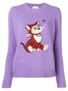 Miu Miu intarsia cat knitted sweater - PURPLE