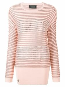Philipp Plein crystal embellished striped jumper - PINK