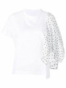 Sacai popline detail T-shirt - White