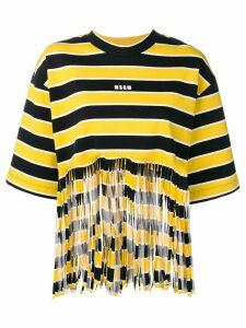 MSGM Shredded striped T-shirt - Yellow