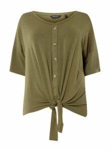 Womens **Dp Curve Khaki Button Down Knot Detail T-Shirt, Khaki