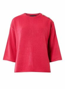 Womens Pink Button Shoulder Jumper- Pink, Pink
