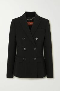 Rosie Assoulin - Open-back Pinstriped Cotton-blend Peplum Top - Navy