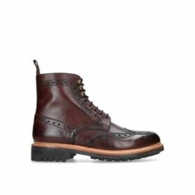 Grenson Fred Hp Wc Commando Bt - Dark Brown Leather Brogue Boots