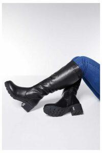 Quiz Black Chunky Heel Knee High Boots