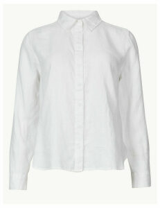 M&S Collection PETITE Pure Linen Button Detailed Shirt