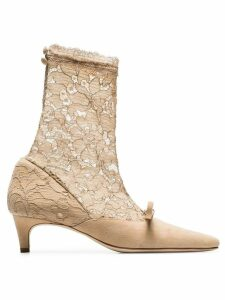 Liudmila nude Heist 35 suede and lace ankle pumps - Neutrals