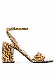 Prada multicoloured 85 Twist print patent leather sandals - Yellow