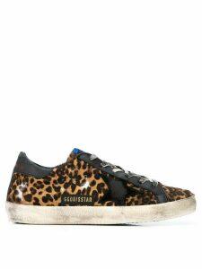 Golden Goose distressed leopard print sneakers - Neutrals