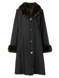 Liska fur collar coat - Black