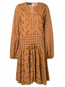Rochas broderie anglaise dress - Brown