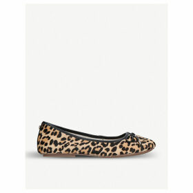 Magic leopard-print ponyhair ballet flats