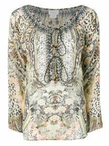 Camilla mixed print blouse - Brown