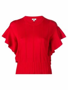 Kenzo ruffle-trimmed knitted top - Red