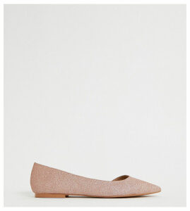 ASOS DESIGN Wide Fit Virtue d'orsay pointed ballet flats in glitter-Beige