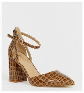 RAID Wide Fit Katy brown mock croc heeled shoes