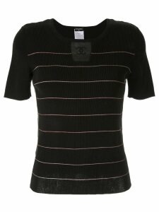 Chanel Pre-Owned knitted striped top - Black