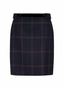 Riley Wool Skirt Navy Pink