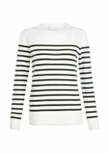 Striped Penny Merino Wool Sweater Ivory Khaki