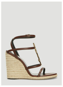 Saint Laurent Cassandra Espadrille Wedge Sandals in Brown size EU - 37